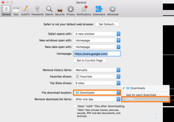 Как сменить папку для загрузок в Safari